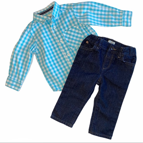 TCP Boys Outfit Set Gingham Shirt Jeans Lot 12-18M